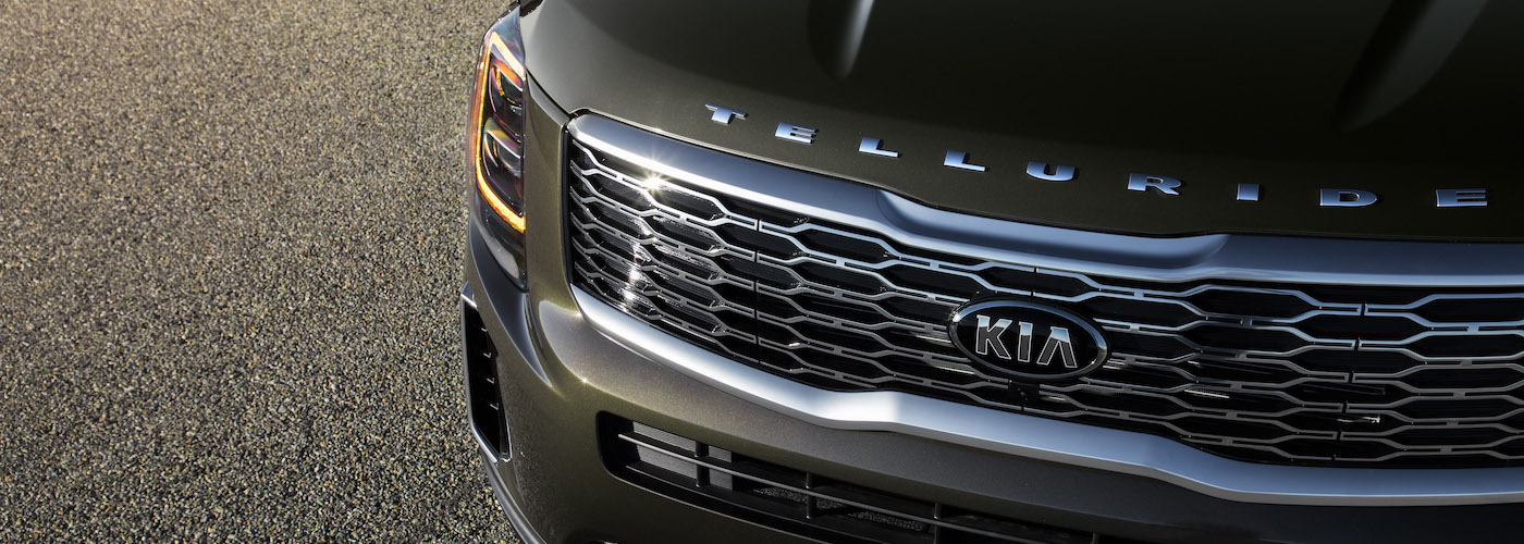The gloss metallic finish and chrome logo of the 2020 Kia Telluride from a PA Kia dealer