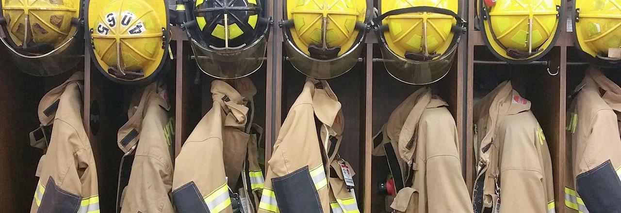 First Responder gear in lockers at firehouse