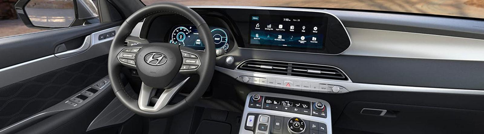 technology in dashboard and front console of 2020 Hyundai Palisade