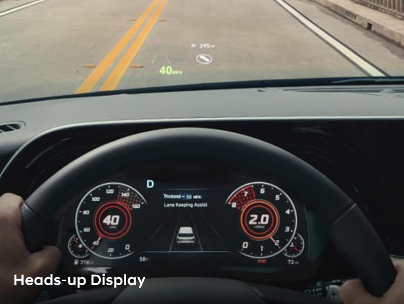 heads-up display in dashboard of 2020 Hyundai Palisade