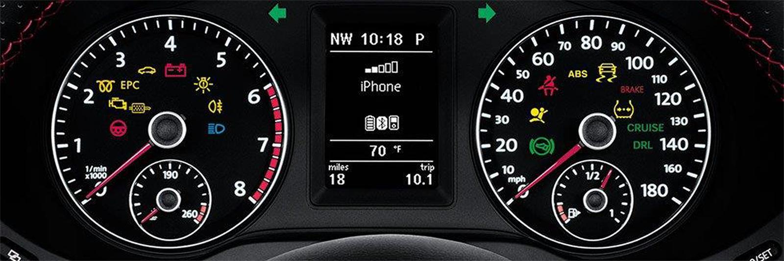 VW dashboard with warning lights illuminated