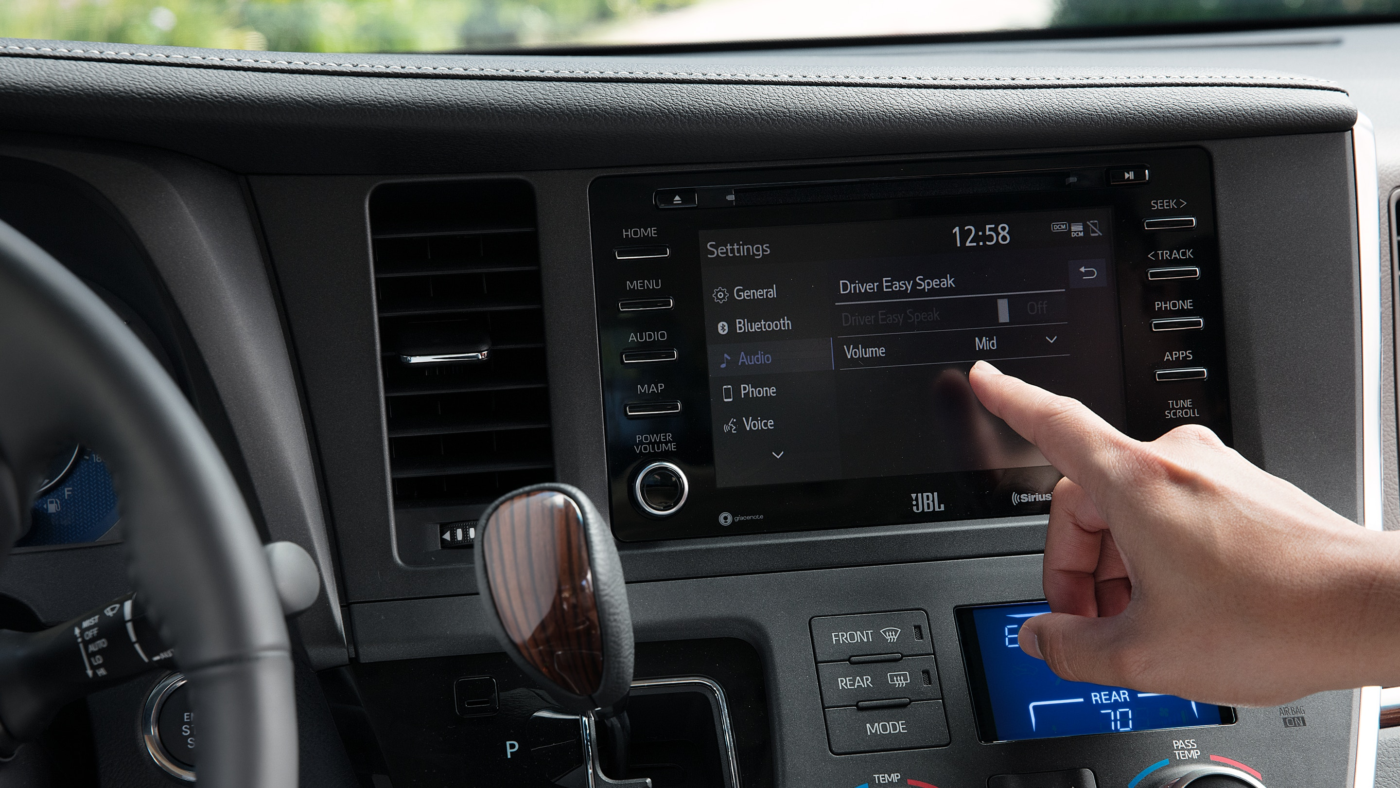 Touchscreen in the 2020 Sienna