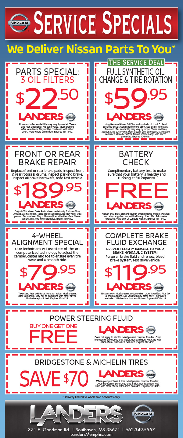 photo about Ford Service Coupons Printable named Provider Division Coupon codes, Deals - Landers Nissan