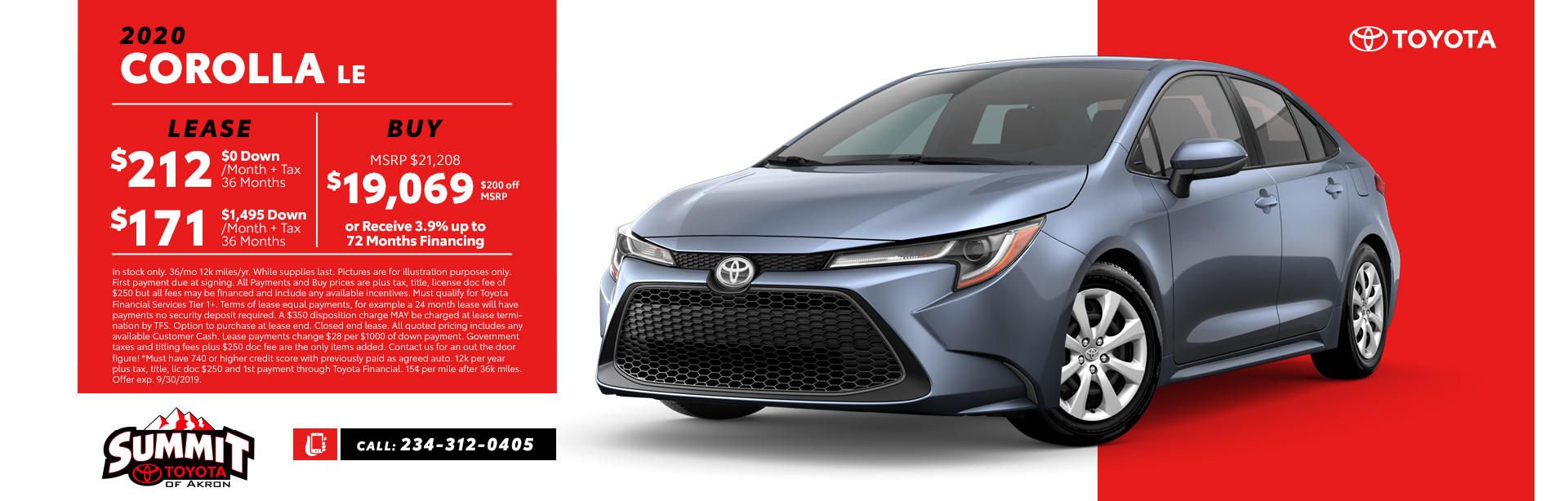 Car Leases Under 200 >> New Lease Specials Summit Toyota