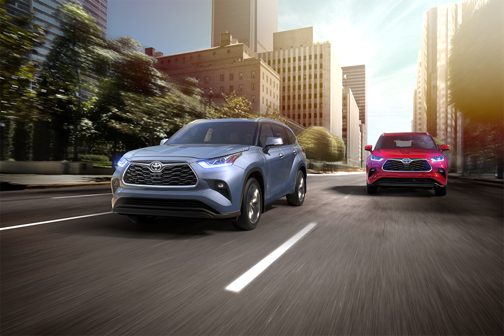 the 2020 Toyota Highlander coming soon to Tri County Toyota of Royersford | Blue and red 2020 toyota highlander running on road