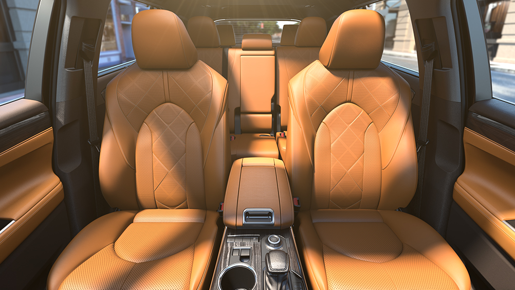 the 2020 Toyota Highlander coming soon to Tri County Toyota of Royersford | 2020 highlander brown leather seating