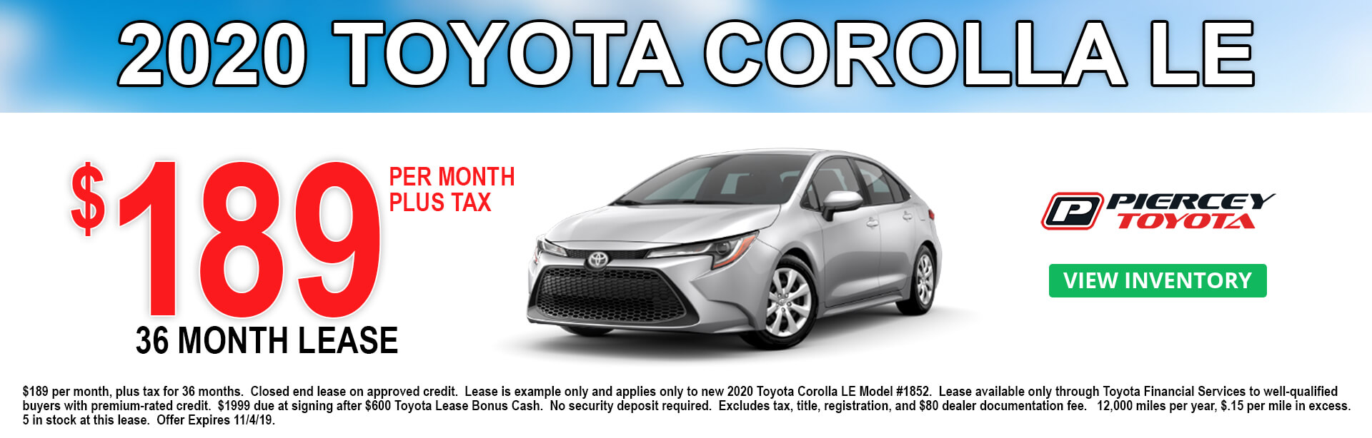 2020 Corolla LE Lease Offer $189 per month 36 Months