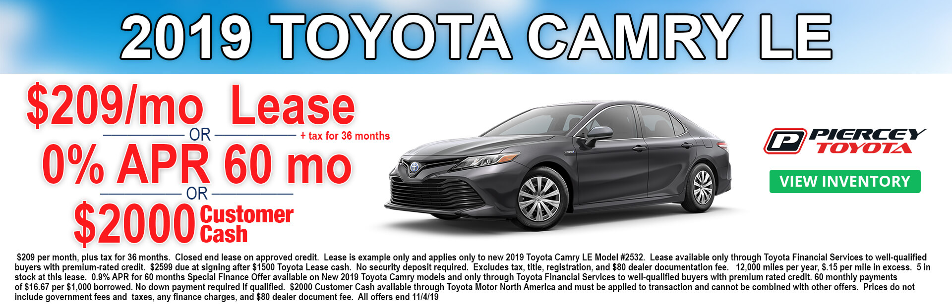 2019 Camry Special Offers $209 per month 36 months