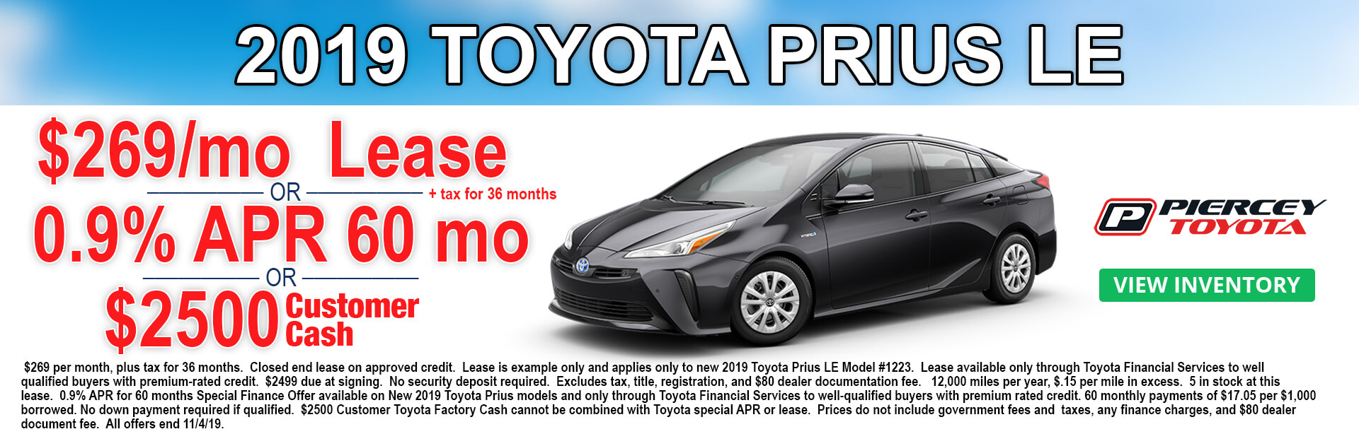 2019 Toyota Prius Lease Offer $269 per month 36 months