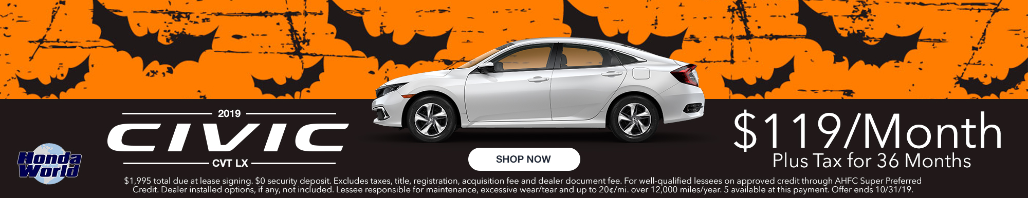 2019 Honda Civic LX Lease Offer $119 a month