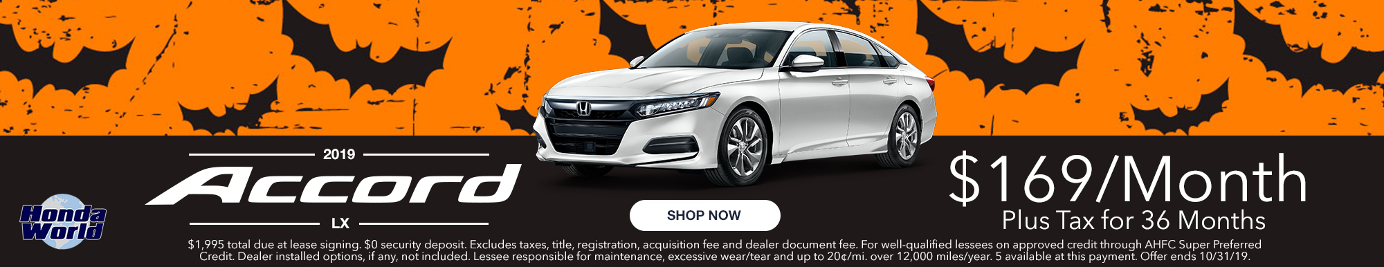 2019 Honda Accord Lease Offer $169 a month