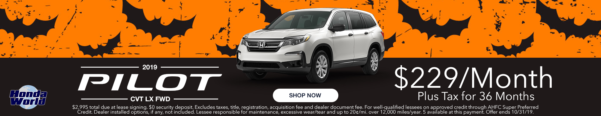 2019 Honda Pilot LX Lease Offer $229 a month