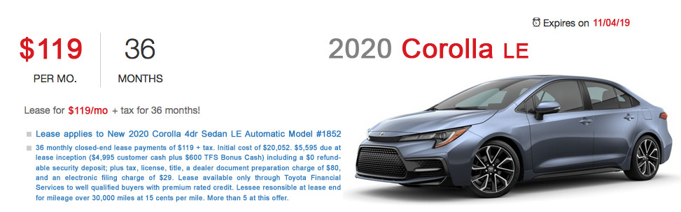 Fremont Toyota Corolla Lease Special Offer