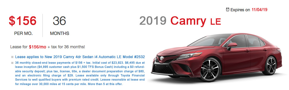 Fremont Toyota Camry Lease Special Offer