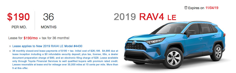 Fremont Toyota RAV4 Lease Special Offer