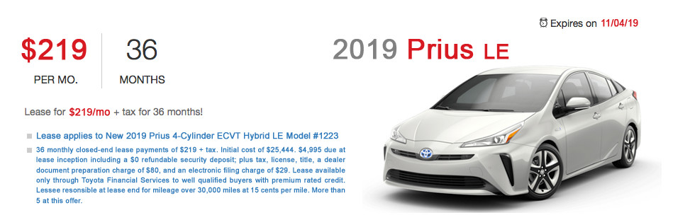Fremont Toyota Prius Lease Special Offer