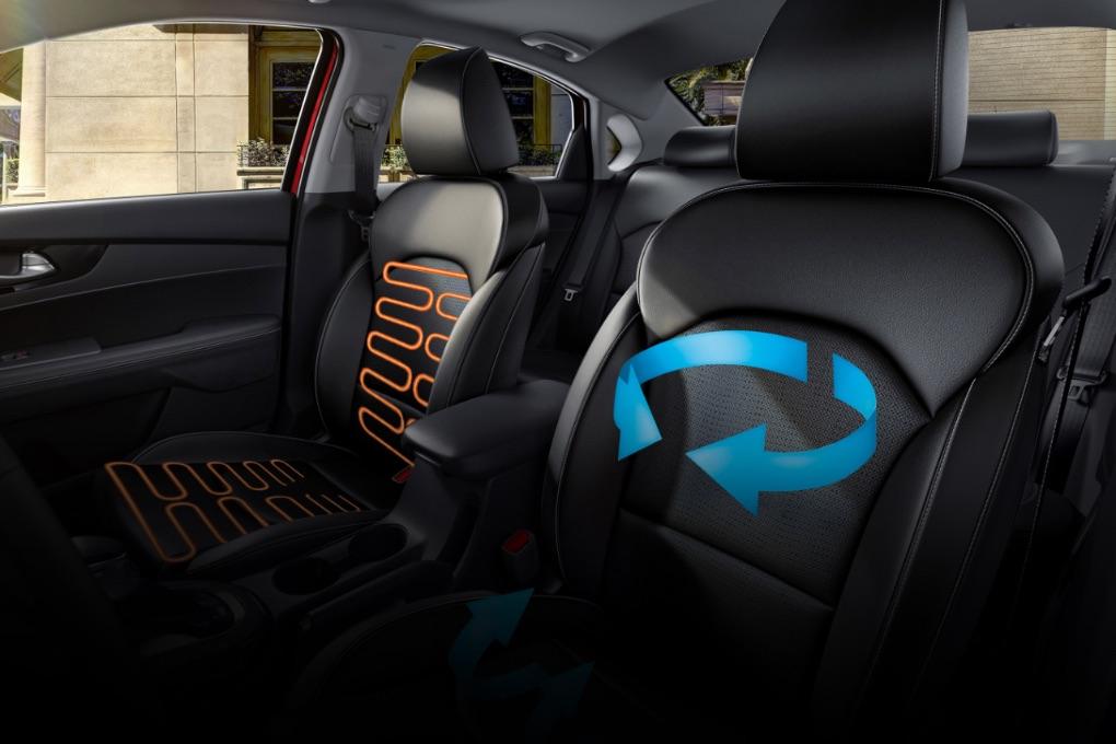 Asientos calefaccionados y ventilados disponibles en el Kia Forte 2020