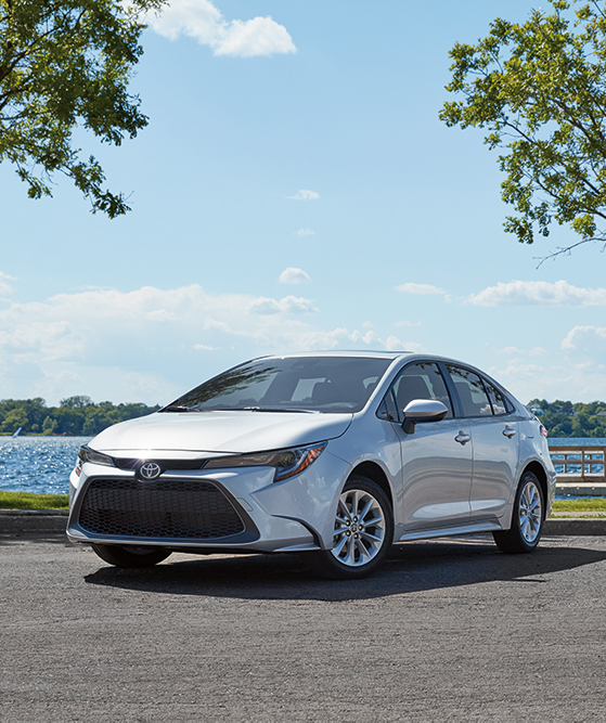Compare the 2020 Honda Civic Sedan vs. the 2020 Toyota Corolla at Tri County Toyota of Royersford | White 2020 Corolla parked in nature