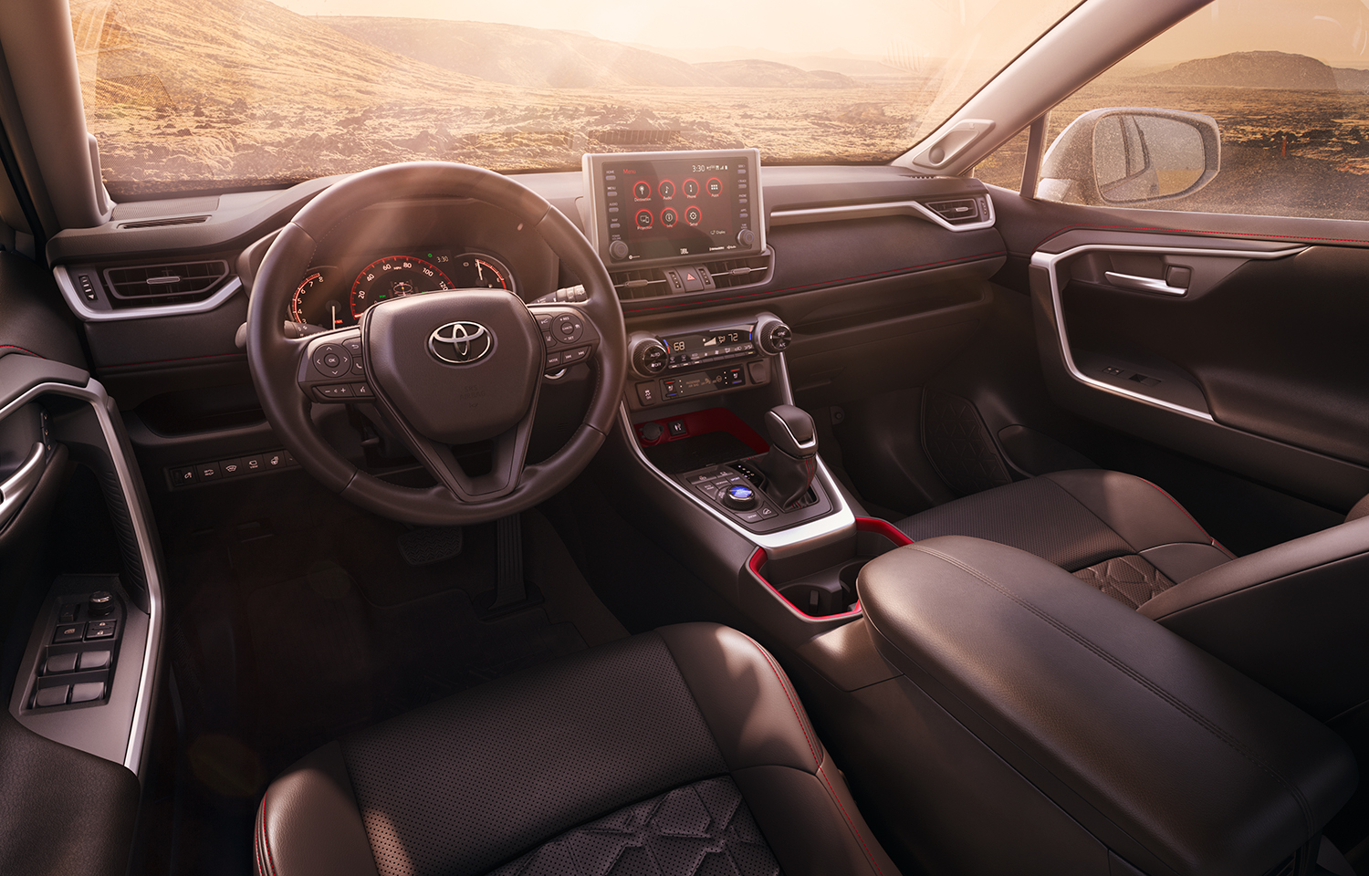 Compare the 2020 Toyota RAV4 vs. the Honda CR-V crossovers at Tri County Toyota | the dashboard of the 2020 rav4