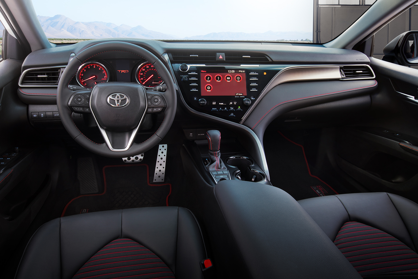 Model Features of the 2020 Toyota Camry at Tri County Toyota | The dashboard of the 2020 Camry TRD
