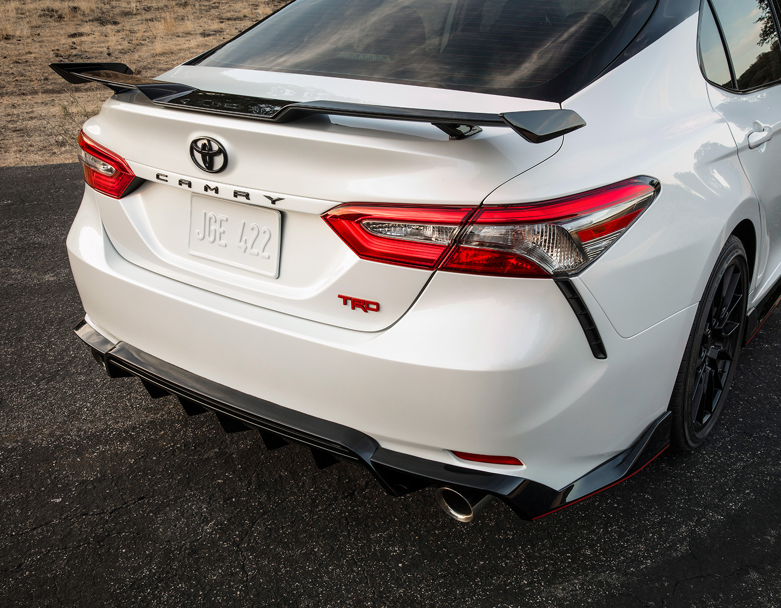 Model Features of the 2020 Toyota Camry at Tri County Toyota | The rear view of 2020 Camry TRD