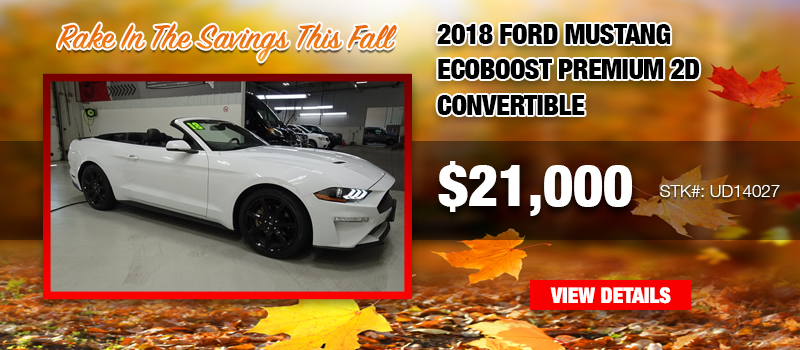 Used 2018 Ford Mustang EcoBoost Premium 2D Convertible at $21,000