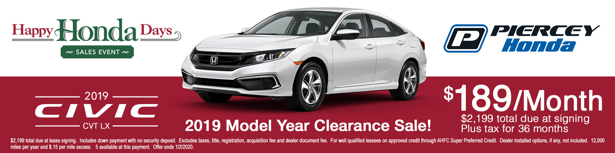 2019 Honda Civic Special Lease Offer