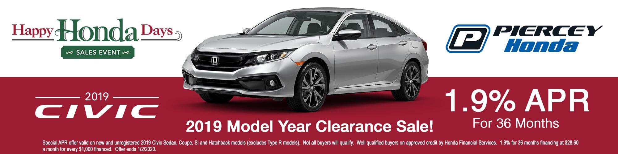 2019 Honda Civic Special APR offer