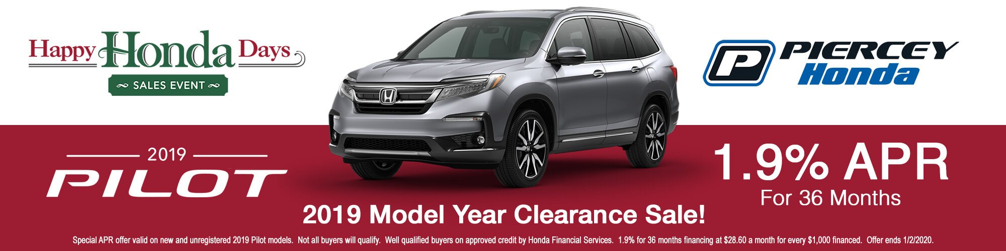 2019 Honda Pilot APR offer