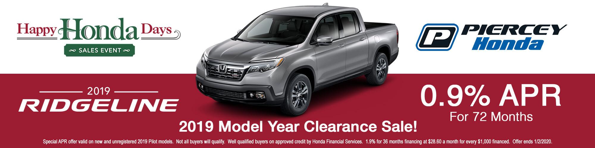 2019 Honda Ridgeline APR offer