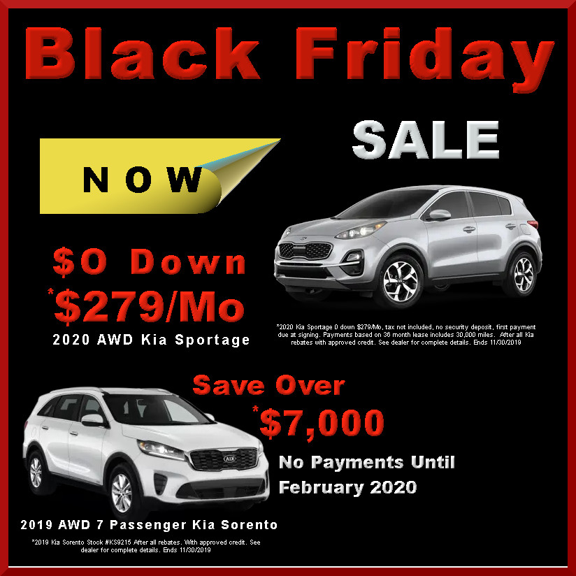 Black Friday Sale! AWD Kia Sportage & AWD 7 Passenger Kia Sorento