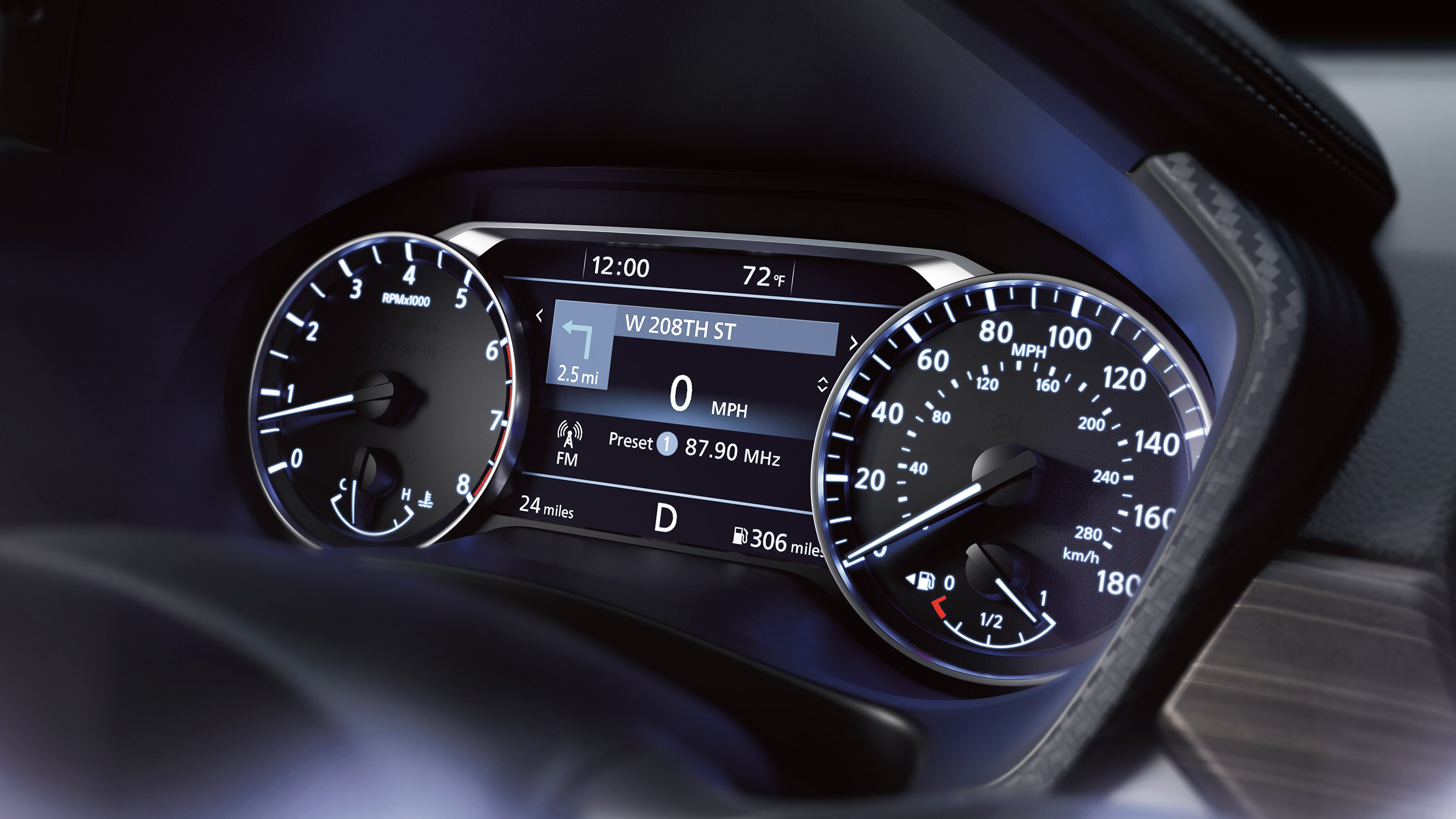 Gauges in the 2020 Nissan Altima