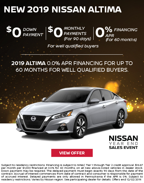 0% APR for 60 Months Offer on a New 2019 Nissan Altima at Deery Brothers Nissan