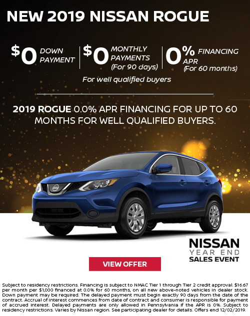 0% APR for 60 Months Offer on a New 2019 Nissan Rogue at Deery Brothers Nissan