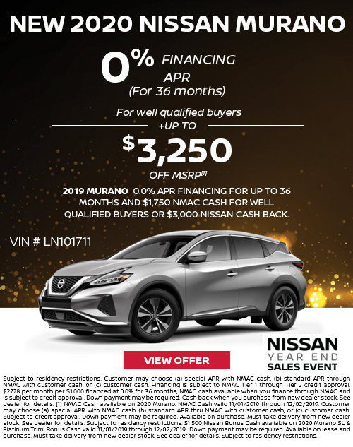 0% APR for 36 Months + up to $3,250 Offer OFF MSRP on a New 2020 Nissan Murano at Deery Brothers Nissan