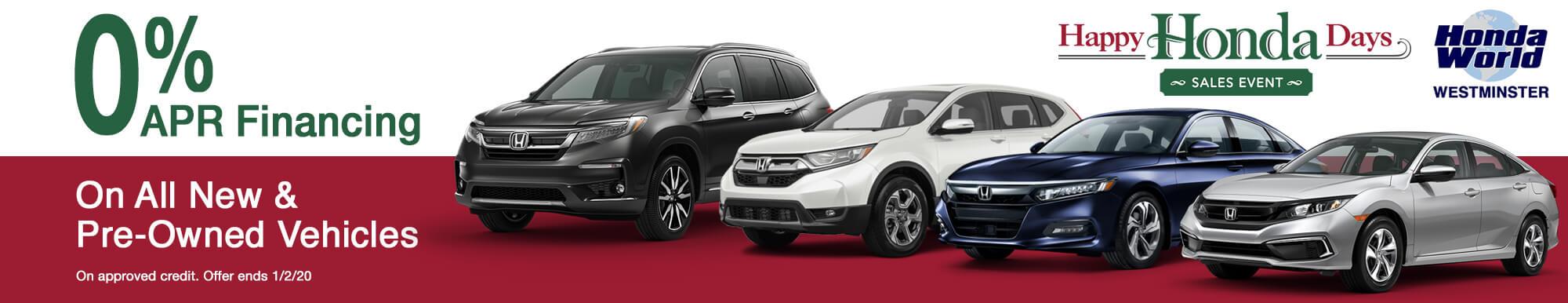 Happy Honda Days Sales Event at Honda World Westmintser