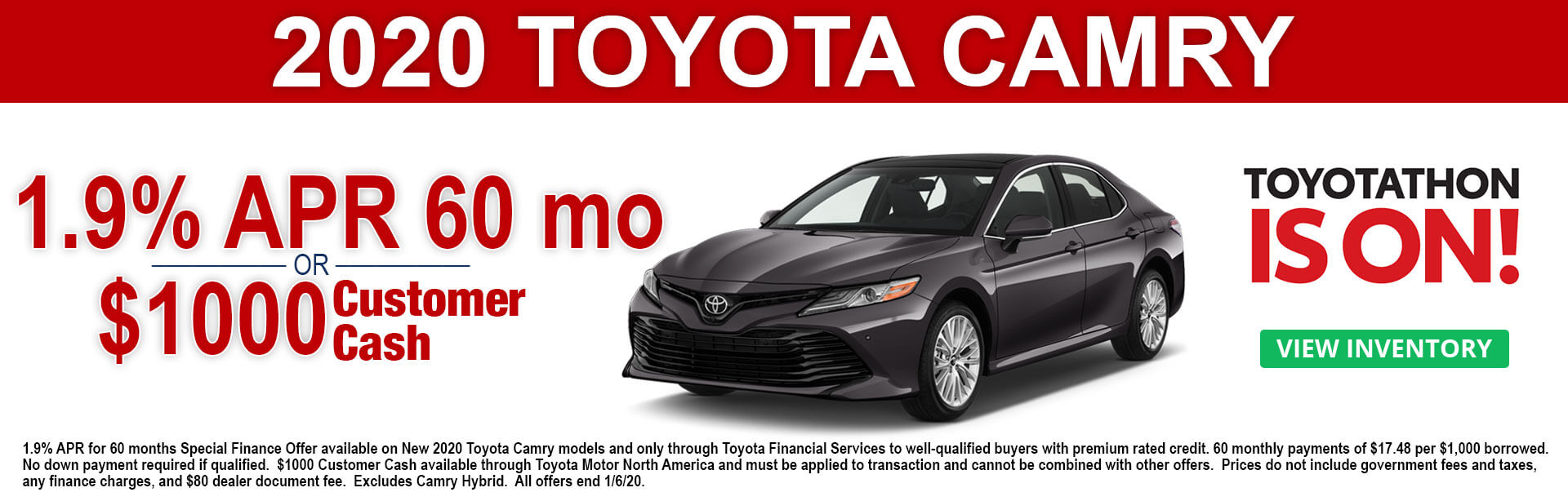 2020 Toyota Camry APR and Cash Offer Toyotathon Is On