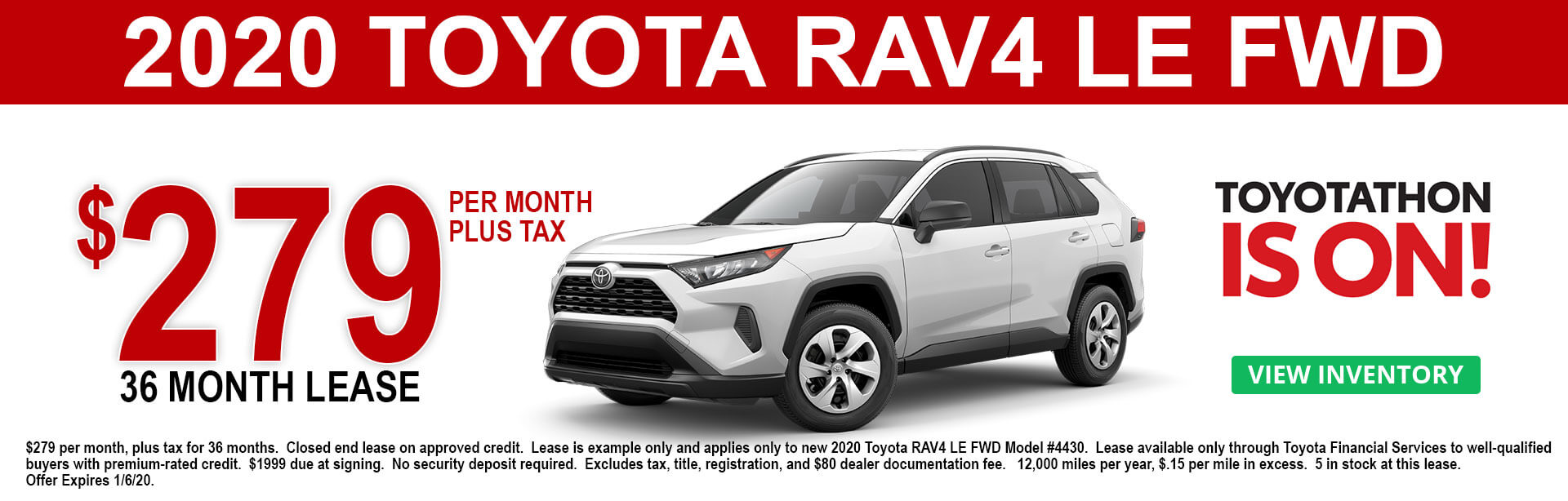 2020 Toyota RAV4 LE Lease Offer $279 per month 36 months