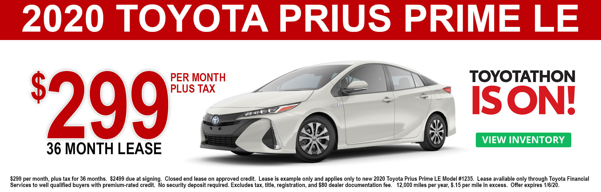 2020 Toyota Prius Prime LE Lease Offer $299 per month