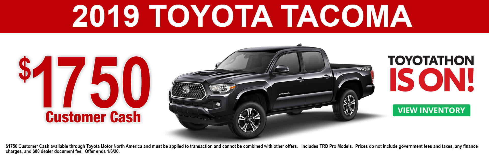 2019 Toyota Tacoma Cash Offer