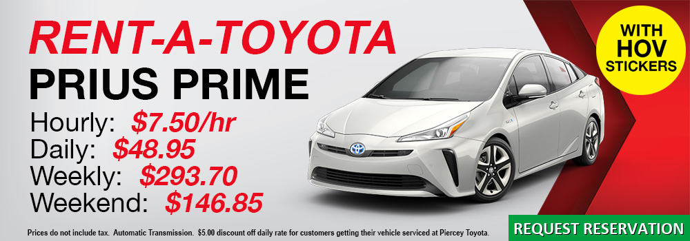 RENT A 2019 TOYOTA PRIUS PRIME WITH HOV STICKERS