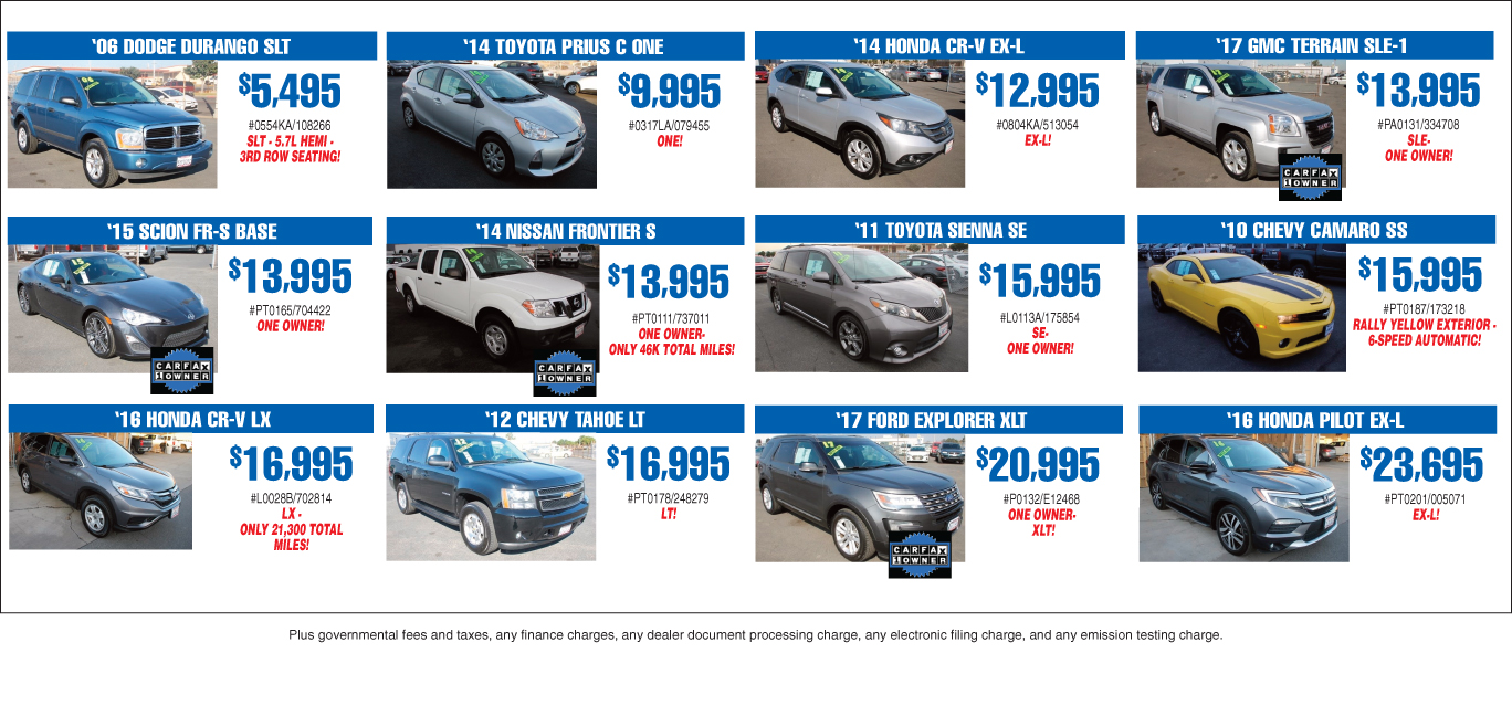 12 Pre-owned Vehicle Specials
