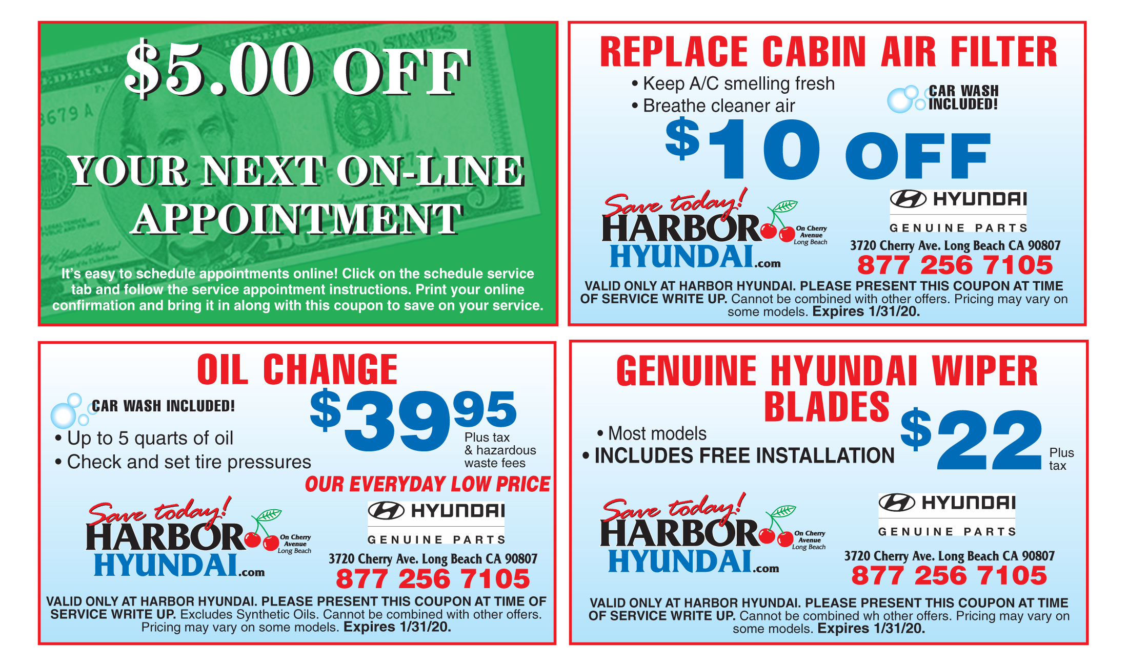 $5 off your next on-line appointment, $10 off Cabin air filter, Oil change $39.95, Hyundai Wiper Blades $22, Coupons