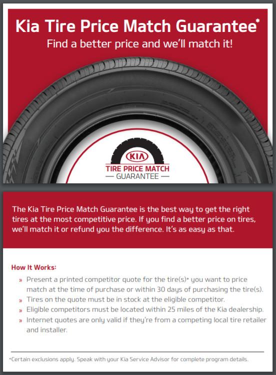 Kia Tire Price Match Guarantee