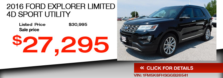 $27,295 Offer on a Used 2016 Ford Explorer Limited 4d Sport Utility