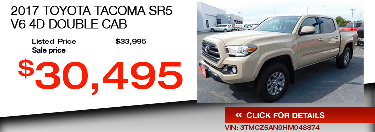 $30,495 Offer on a Used 2017 Toyota Tacoma SR5 V6 4D Double Cab