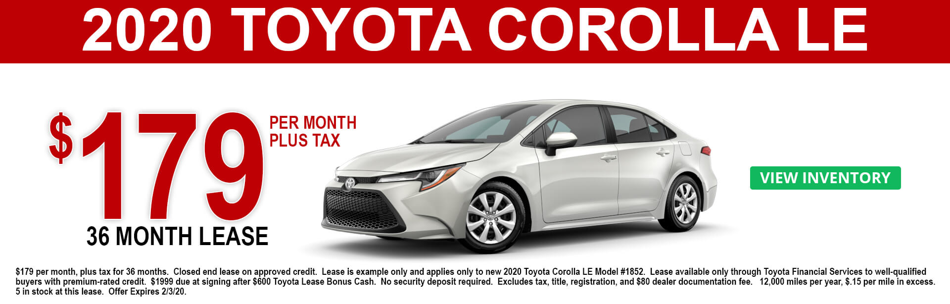 2020 Toyota Corolla LE Lease Offer $179 per month 36 months