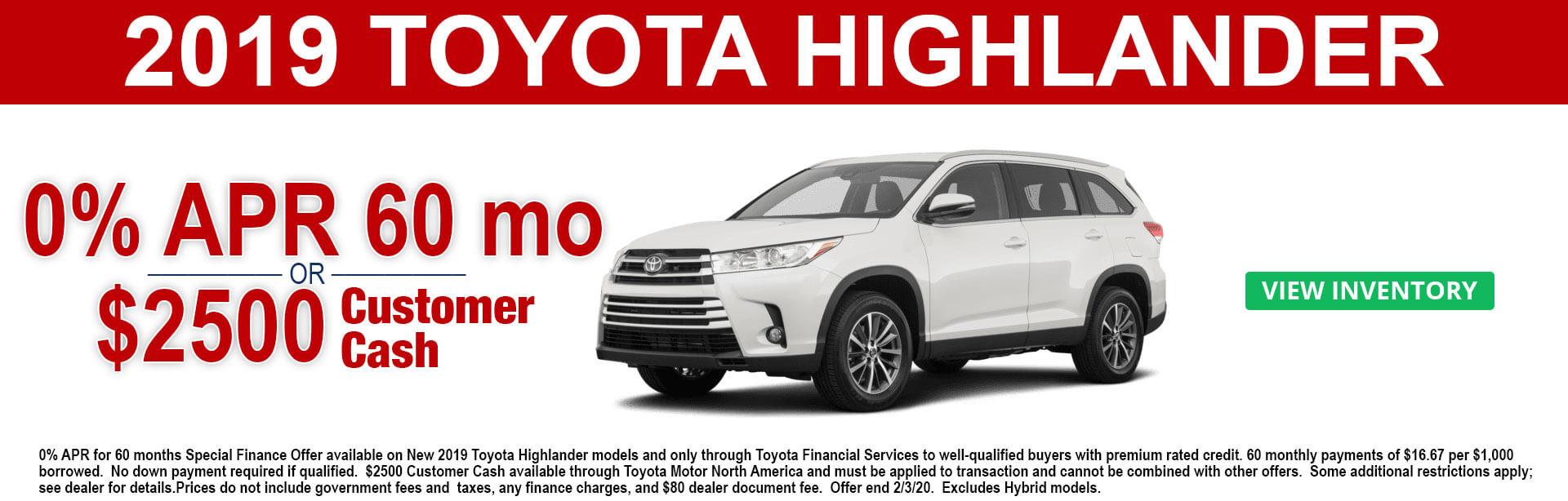 2019 Toyota Highlander APR and Cash Offer