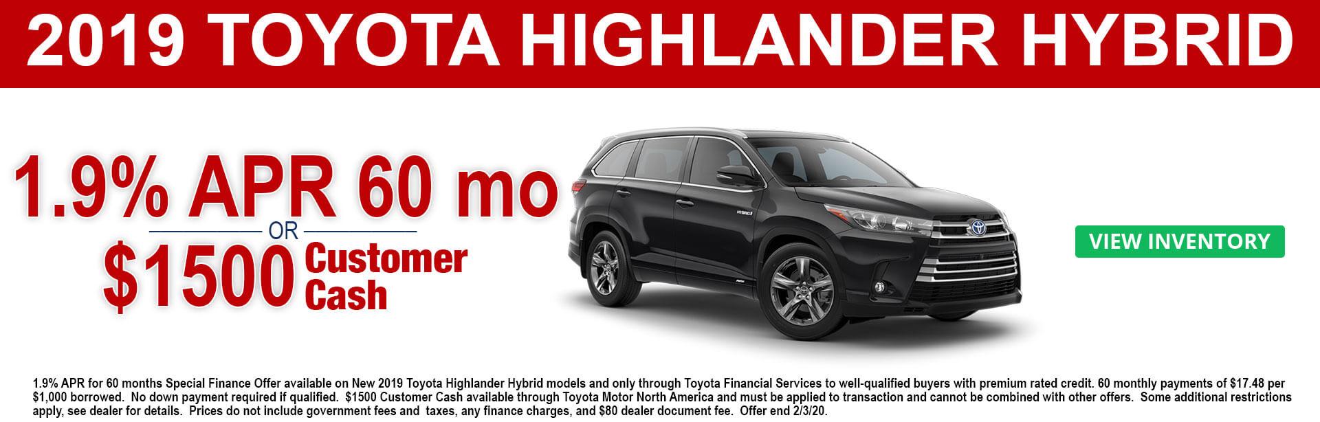 2019 Toyota Highlander Hybrid APR and Cash Offer