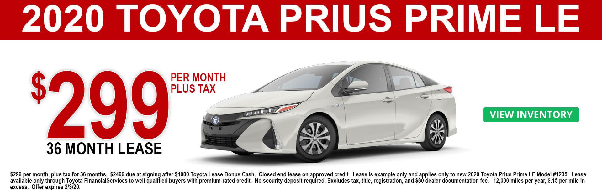 2020 Toyota Prius Prime LE Lease Offer $299 per month